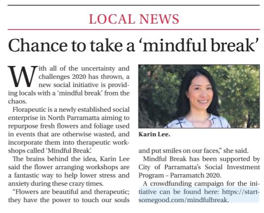 Newspaper article in Parra News 17 Nov 2020, by Nicola Barton.
