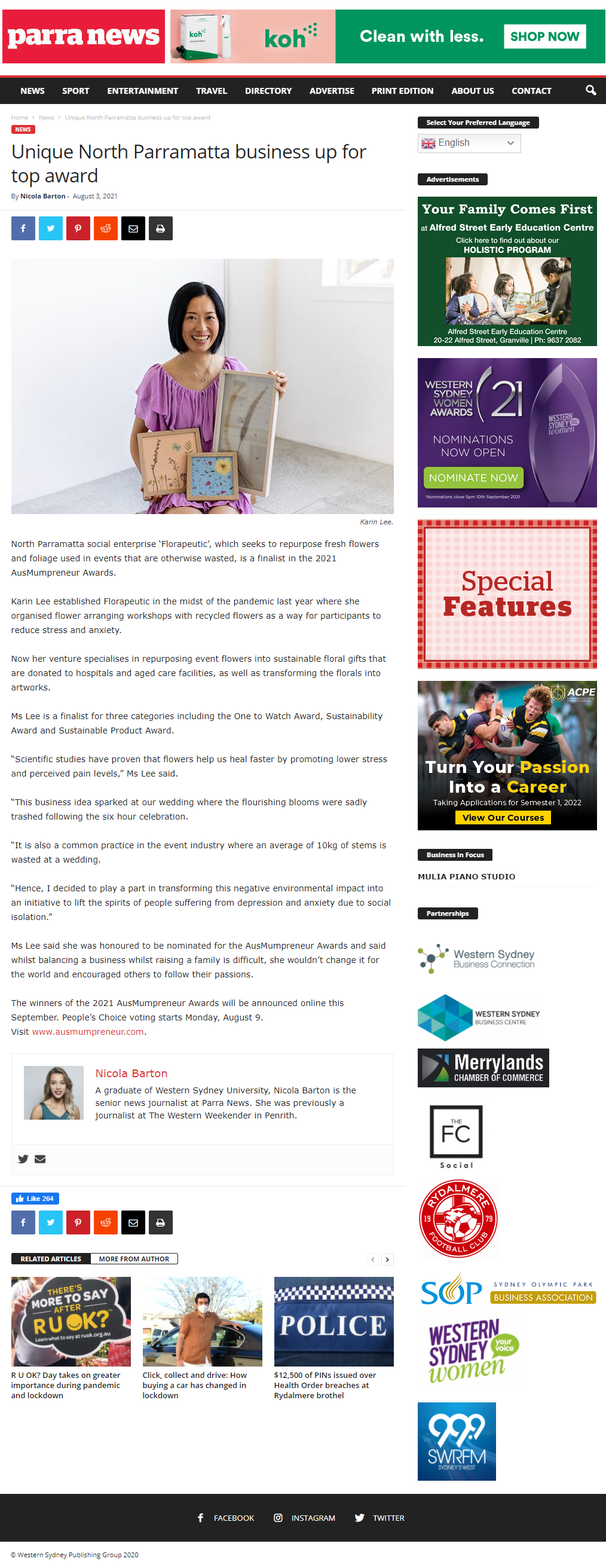 Karin and Florapeutic were featured in Parra News 3 Aug 2021.