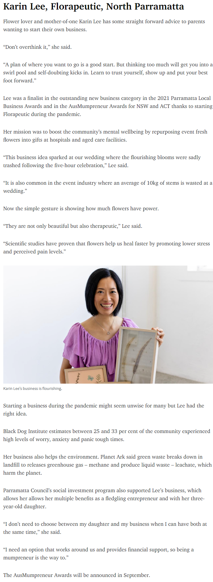 Karin and Florapeutic were featured in Daily Telegraph Newslocal Parramatta advising parents who want to start their own business.
